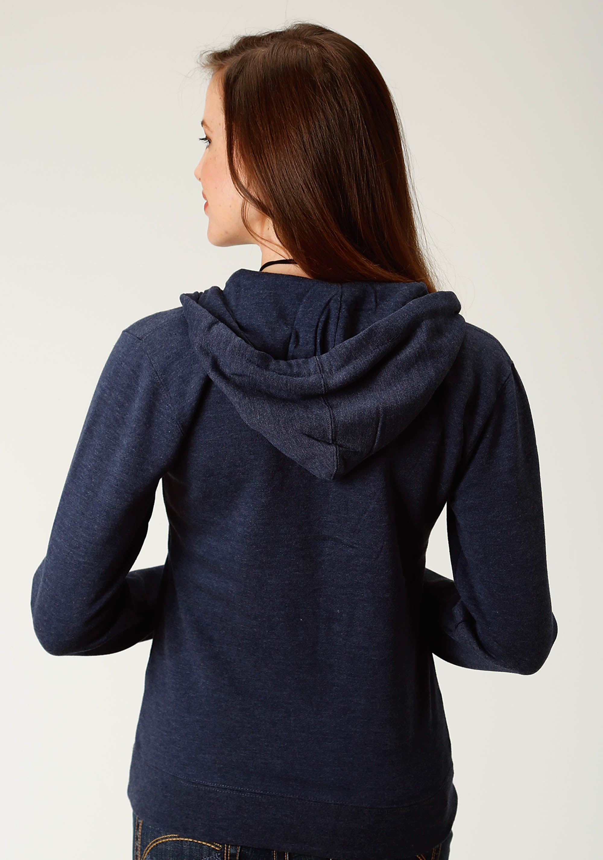 ROPER WOMENS BLUE NAVY HEATHER ZIPPER FRONT HOODIE  JACKET