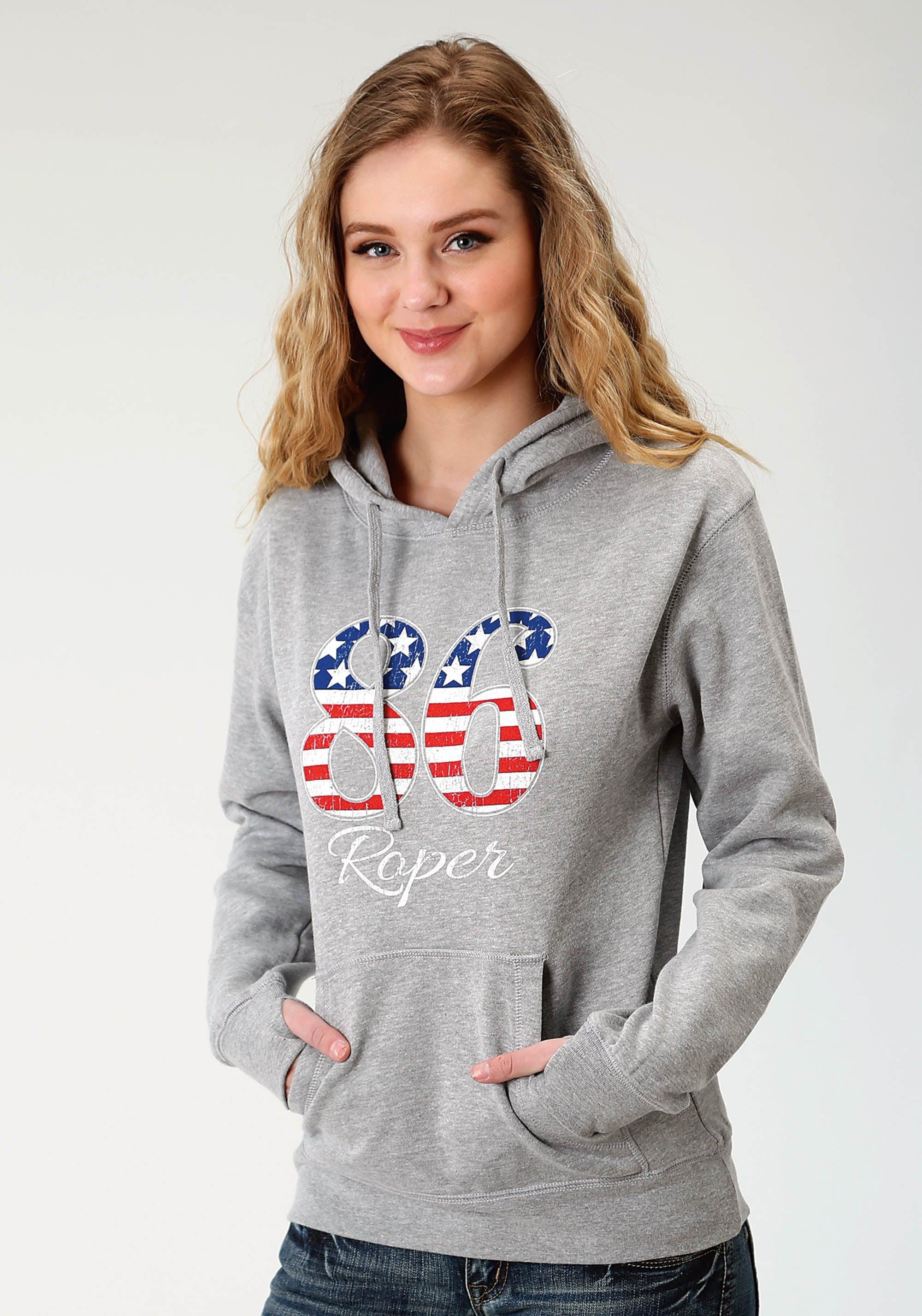 ROPER WOMENS GREY ROPER AMERICAN 86 SCREEN PRINT ROPER LADIES SWEATSHIRT JACKET
