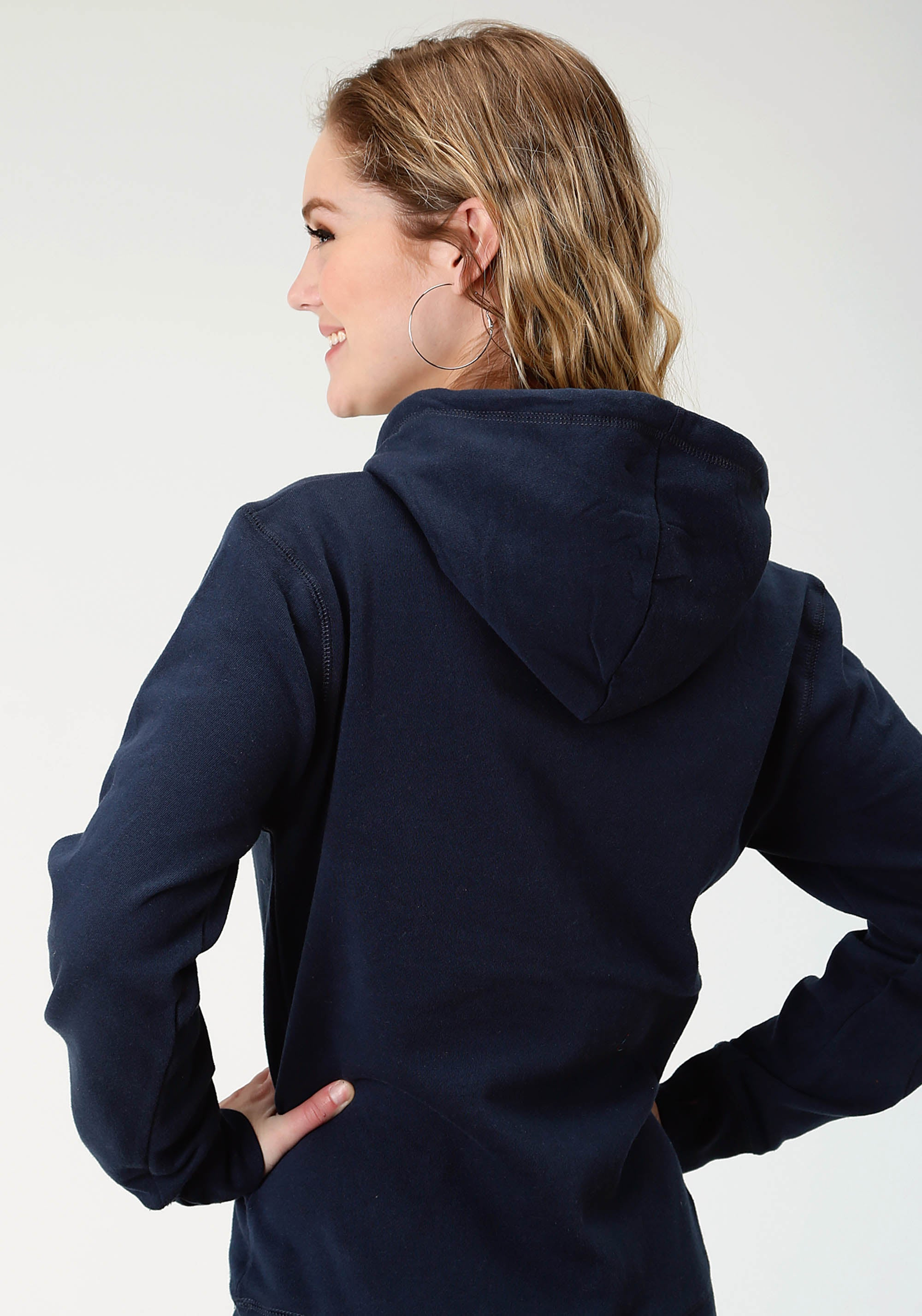 ROPER WOMENS BLUE ROPER ATHLETIC SCRIPT EMB APPLIQUE ROPER LADIES SWEATSHIRT JACKET