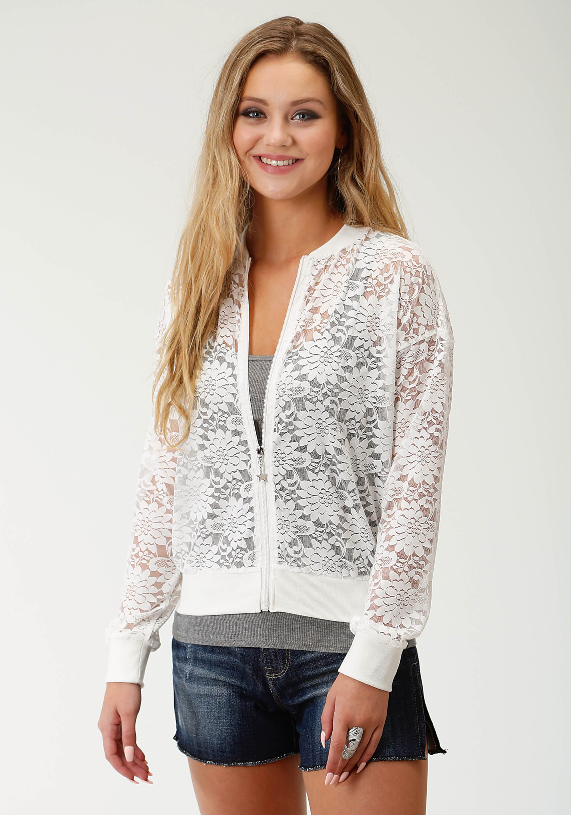 ROPER WOMENS WHITE 3023 ALLOVER LACE JACKET FIVE STAR COLLECTION- SPRING II JACKET