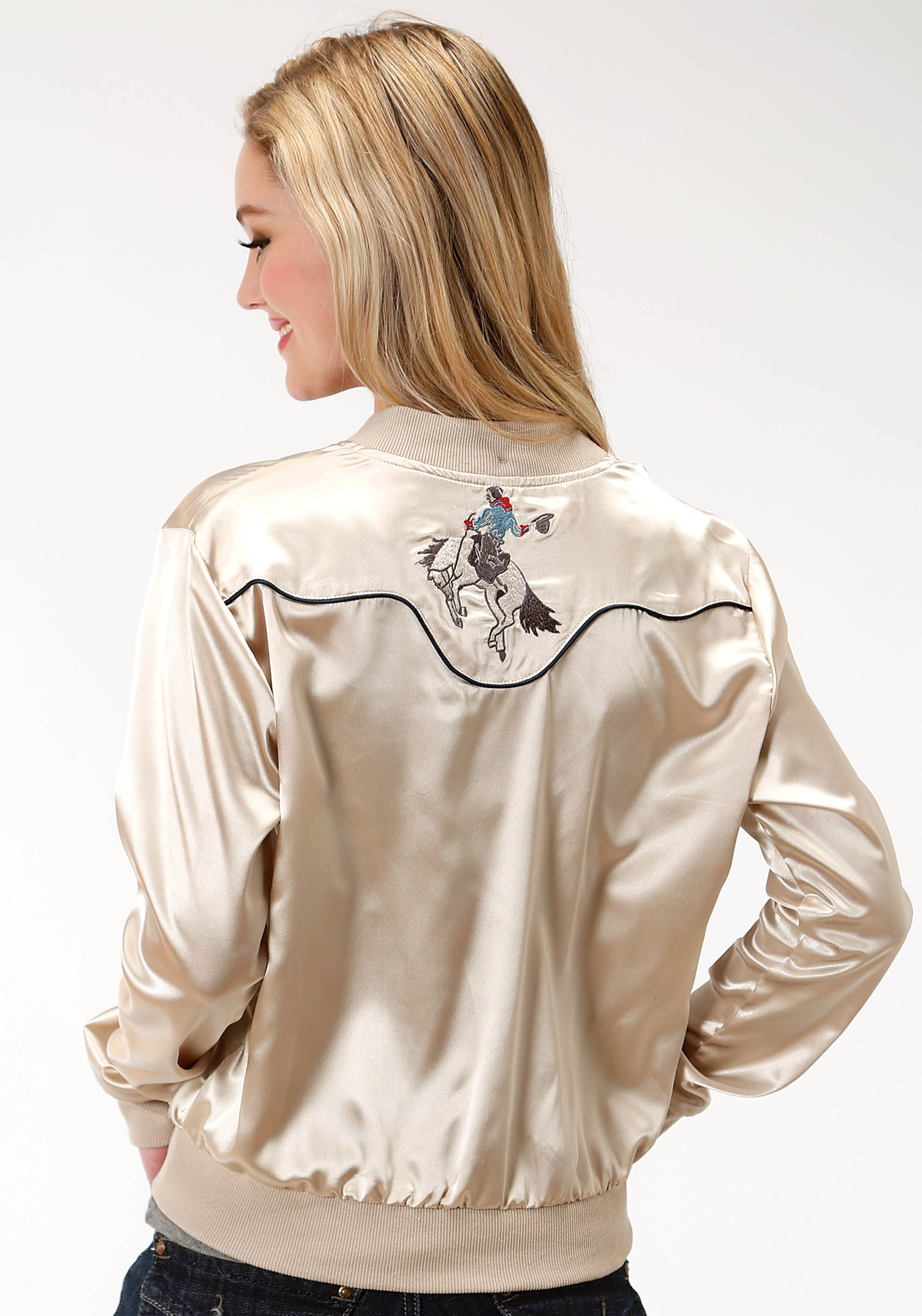 ROPER WOMENS WHITE 0360 SATIN LADIES BOMBER STYLE JACKET FIVE STAR COLLECTION- FALL III JACKET