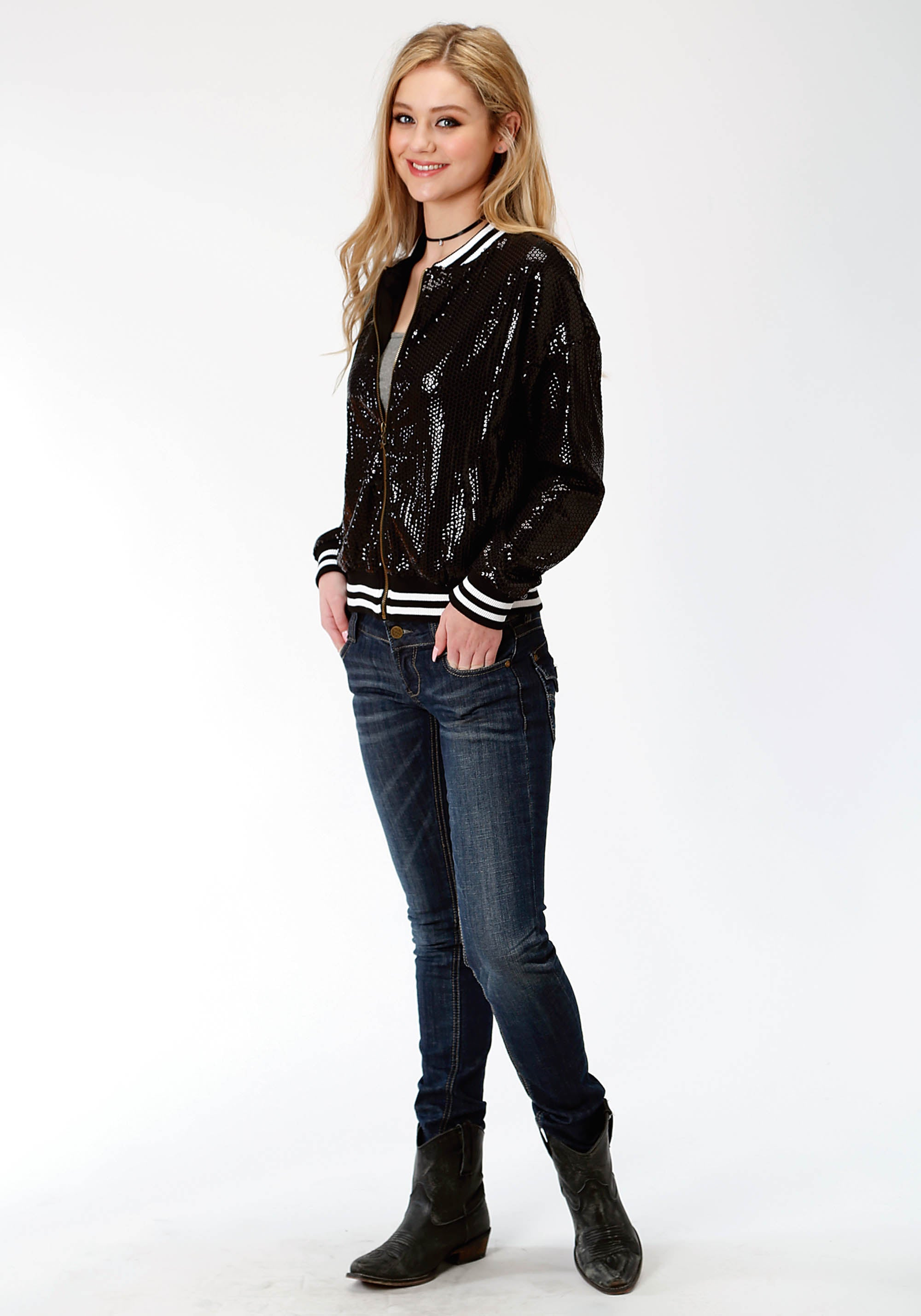 ROPER WOMENS BLACK 0470 LADIES SEQUIN BOMBER STYLE JACKET FIVE STAR COLLECTION- FALL II JACKET