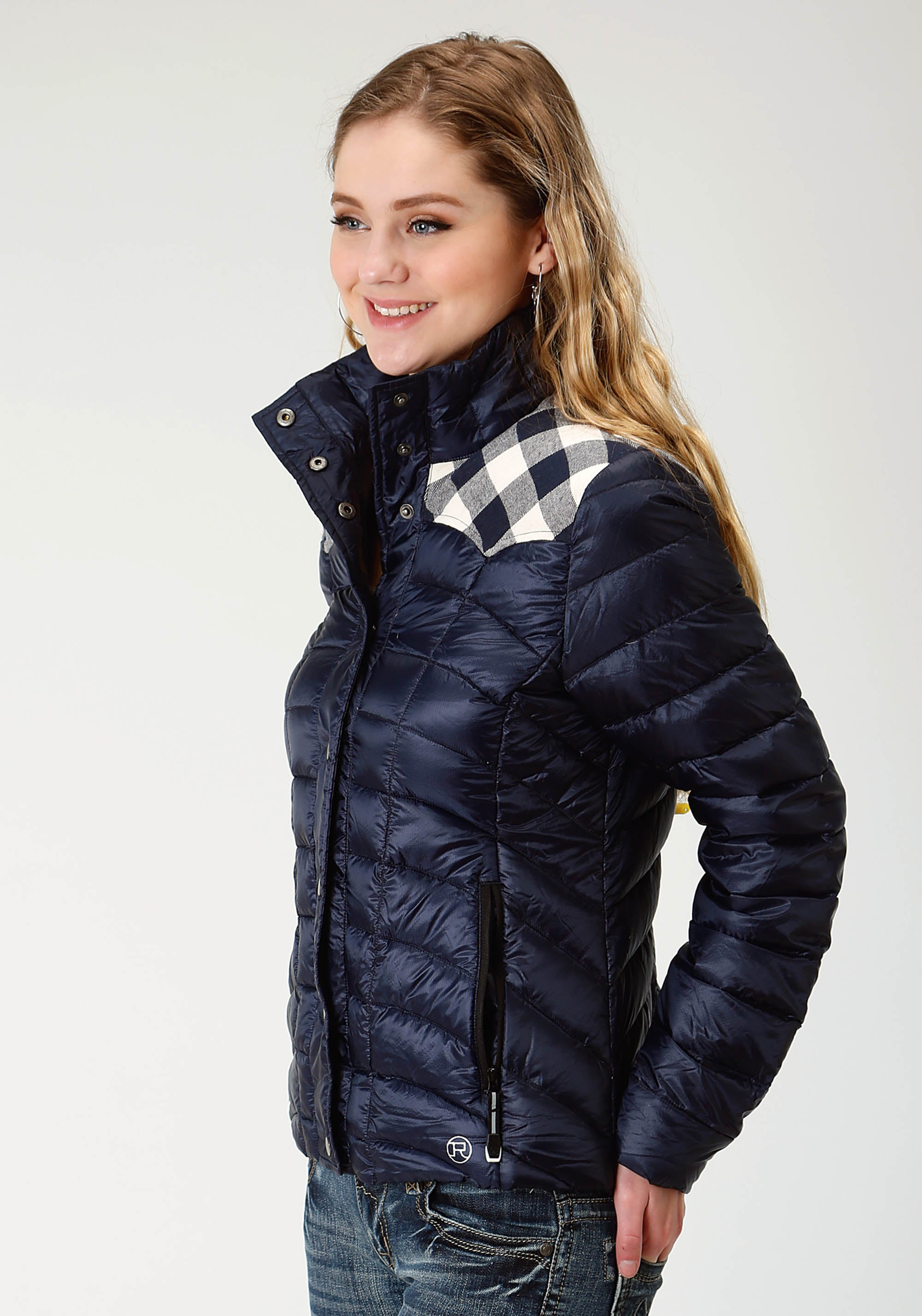 ROPER WOMENS BLUE 2384 QUILTED DOWN COAT ROPER OUTERWEAR- LADIES JACKET