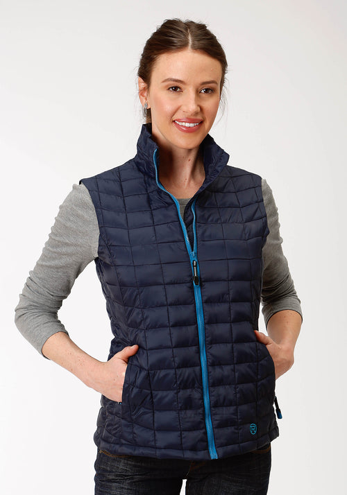 OUTERWEAR WOMENS NAVY 4043 POLY FILLED NYLON VEST CRUSHABLE
