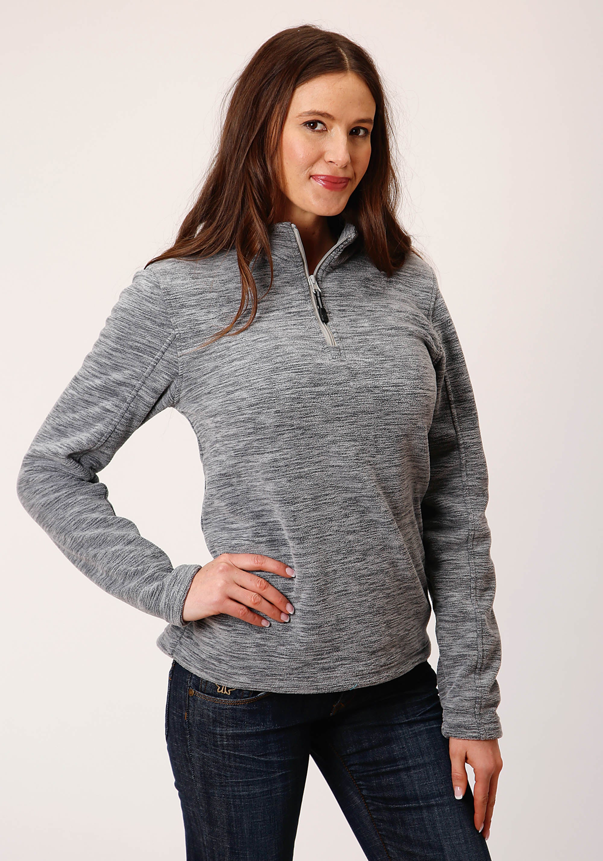OUTERWEAR WOMENS GREY 00511 GREY FLEECE 3/4 SLV PULL OVER MICRO FLEECE