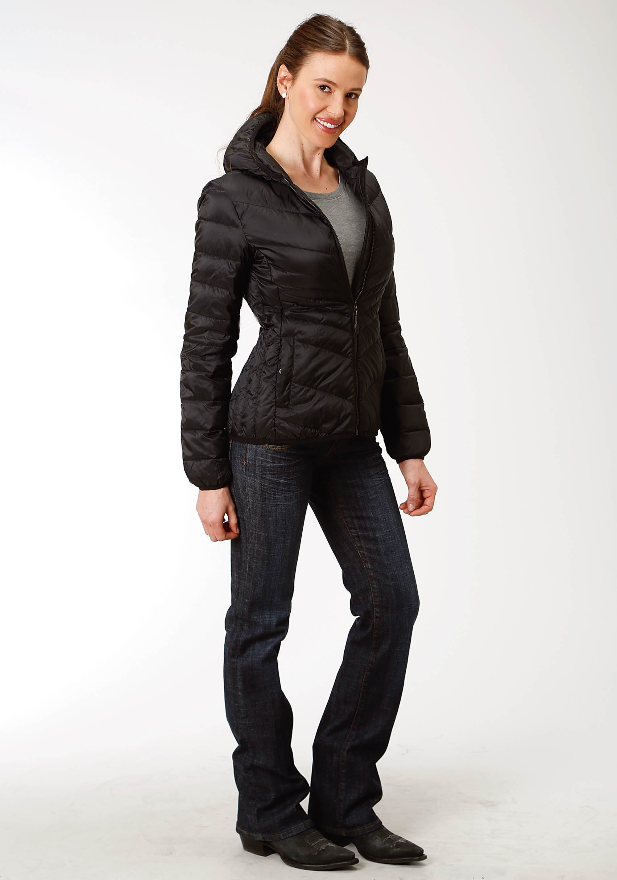 ROPER WOMENS BLACK 4043 DOWN PROOF COATED JACKET W/HOOD ROPER OUTERWEAR- LADIES JACKET