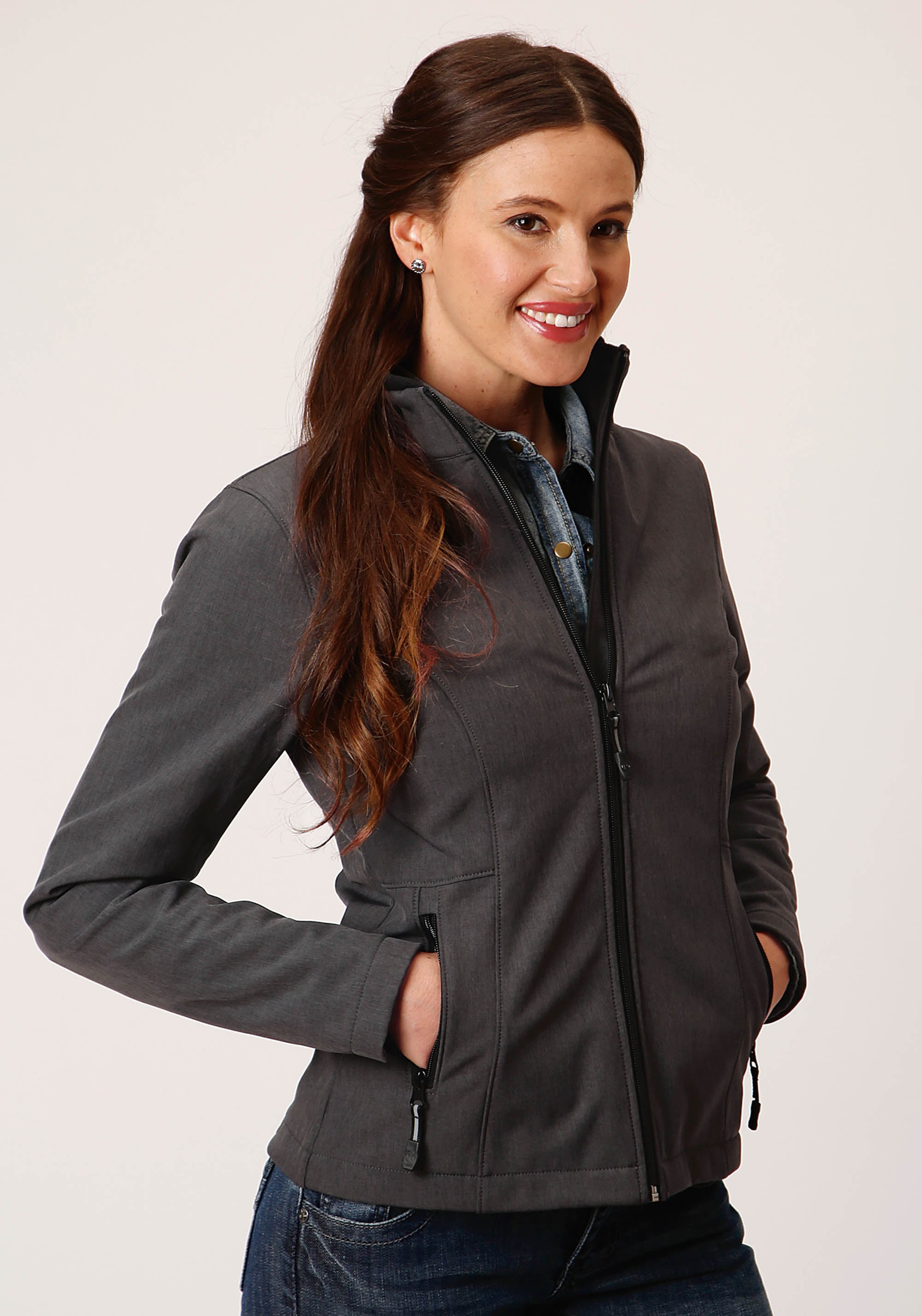 OUTERWEAR WOMENS GREY 00428 HEATHERED GY SOFTSHELL JACKET TECH GROUP