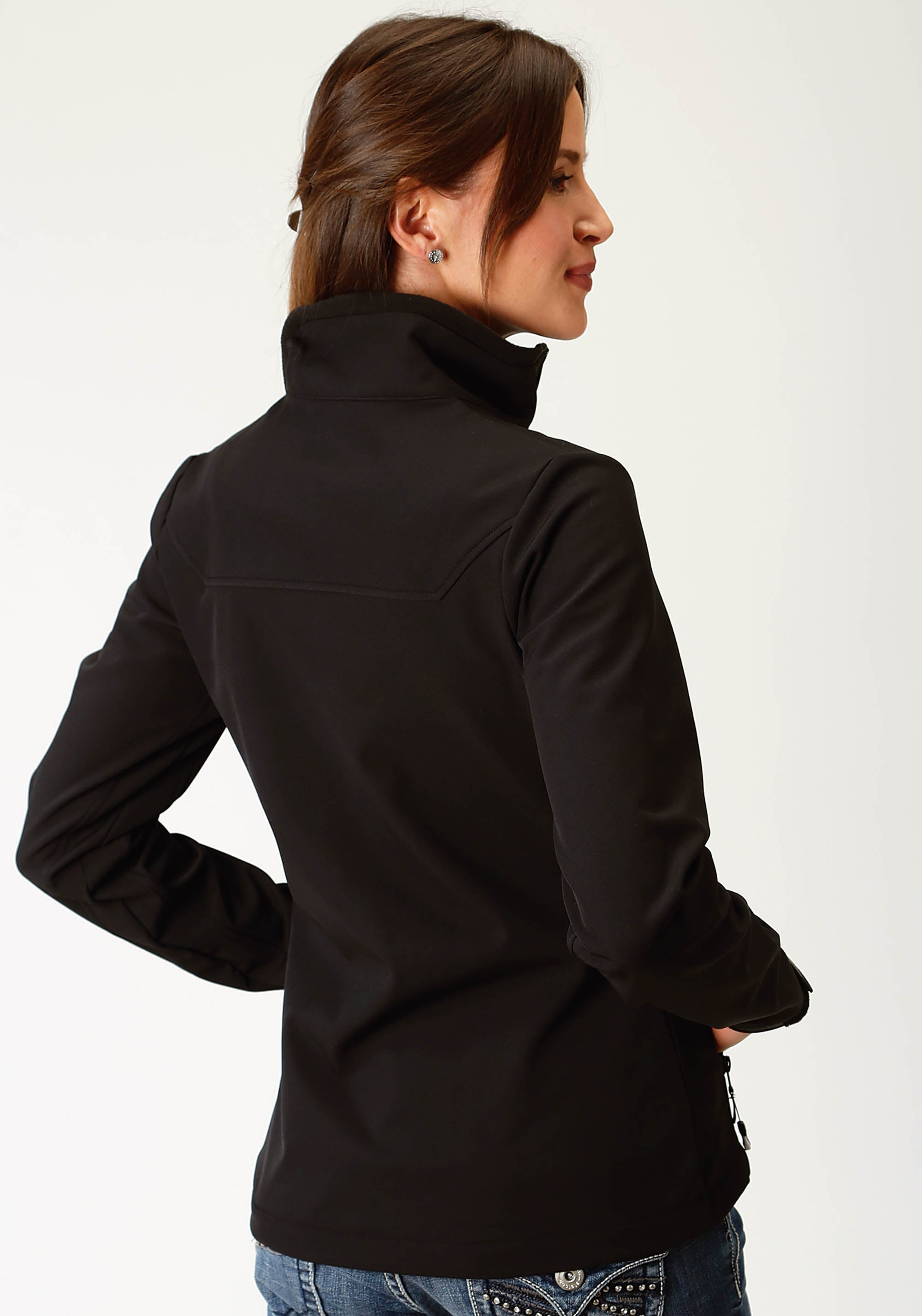 ROPER WOMENS BLACK BONDED SOFTSHELL W/BLACK FLEECE JACKET ROPER OUTERWEAR- LADIES JACKET