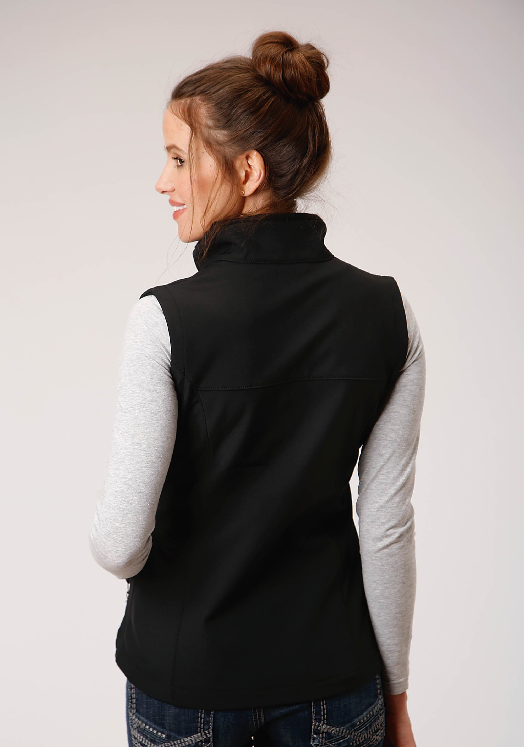 ROPER WOMENS BLACK 00259 BLACK W/BLACK SOFTSHELL VEST ROPER OUTERWEAR- WOMEN'S IN STOCK VEST