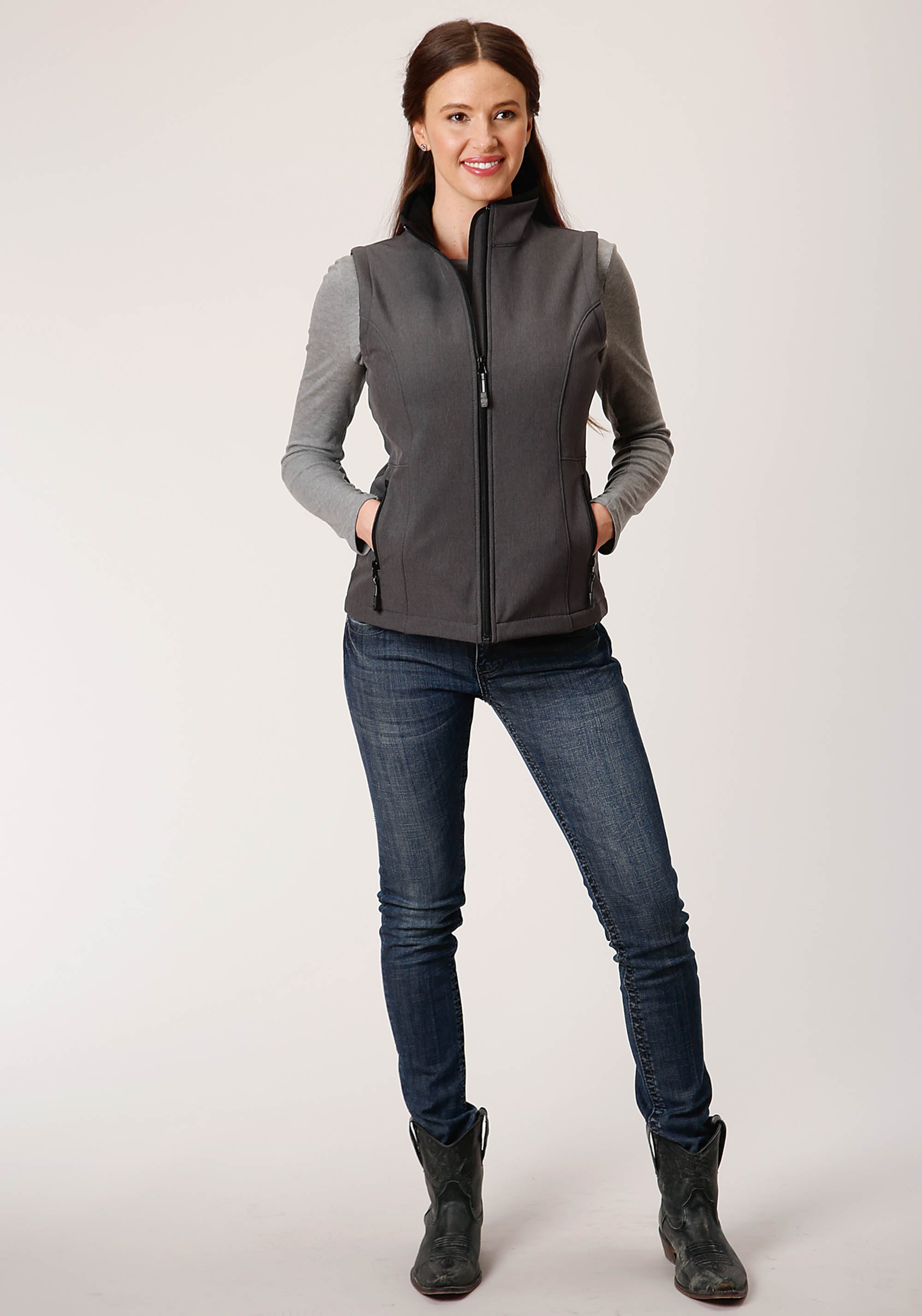 OUTERWEAR WOMENS GREY 00428 HEATHERED GY SOFTSHELL VEST TECH GROUP
