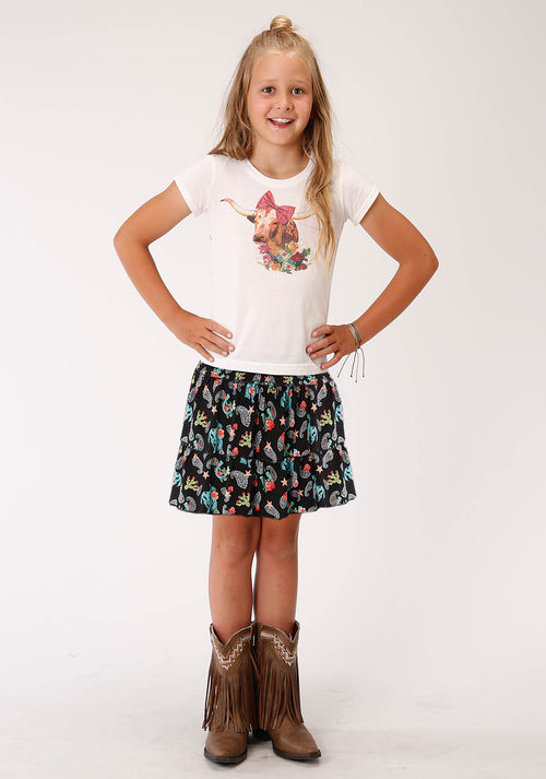 ROPER GIRLS BLACK 00221 COWGIRL PRINT RUFFLE SKIRT FIVE STAR GIRL'S SKIRT