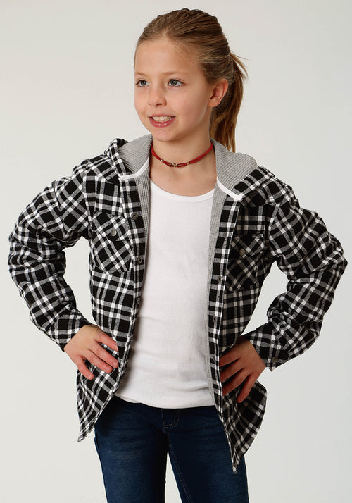 ROPER GIRLS BLACK FLANNEL KNIT LINED HOODED SHIRT  JACKET