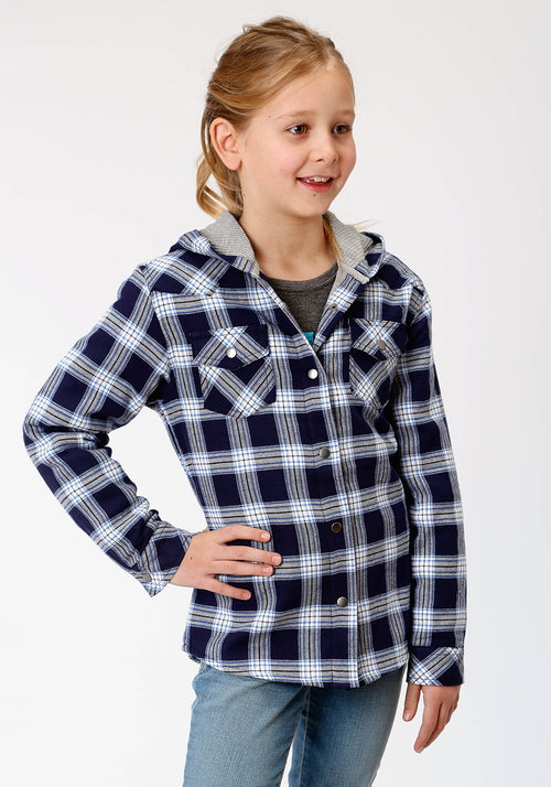 ROPER GIRLS BLUE 4015 NAVY/LT.BLUE FLANNEL PLAID  JACKET