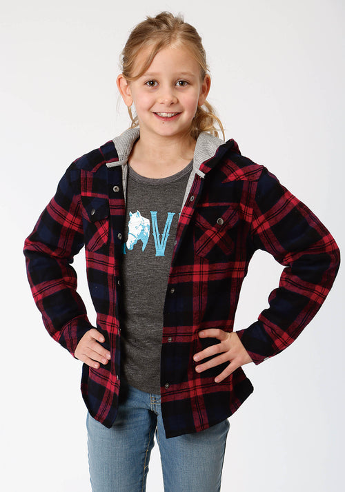 ROPER GIRLS PINK 4015 FUSHIA/BLACK FLANNEL PLAID  JACKET