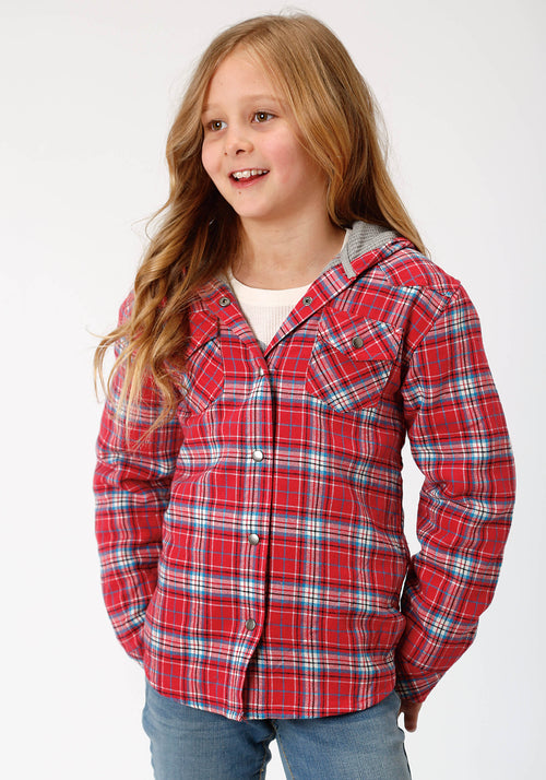 ROPER GIRLS RED 4015 CORAL/BLUE/WHITE FLANNEL PLAID  JACKET