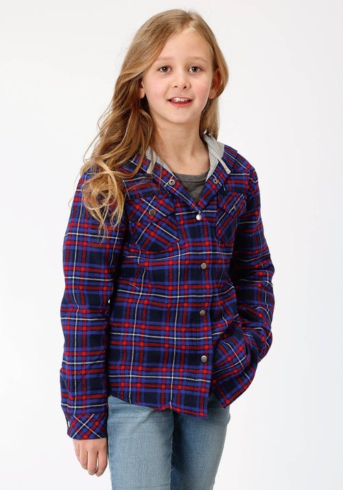 ROPER GIRLS BLUE 4015 ROYAL/RED FLANNEL PLAID  JACKET