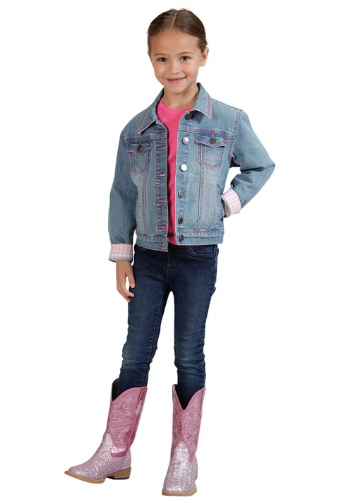 ROPER GIRLS BLUE DENIM JACKET/PINK PLAID LINING ROPER OUTERWEAR- GIRLS JACKET