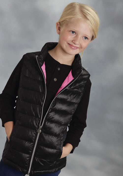 ROPER GIRLS BLACK BL PARACHUTE CRUSHABLE VEST ROPER OUTERWEAR- GIRLS VEST