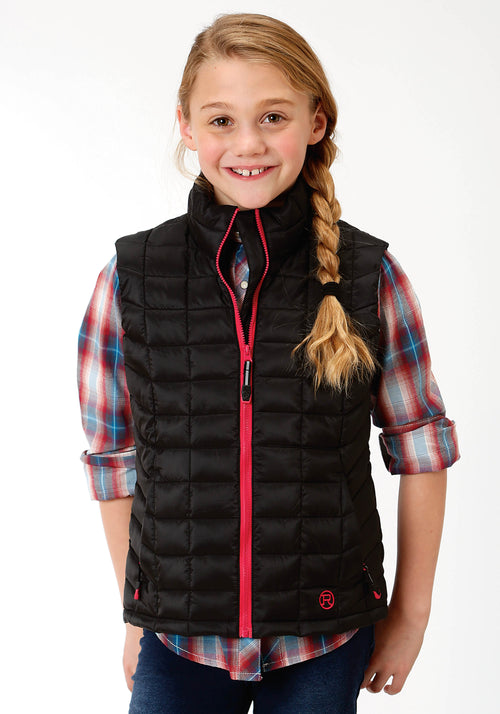ROPER GIRLS BLACK 4043 BLACK RIPSTOP POLY FILLED VEST ROPER OUTERWEAR- GIRLS VEST