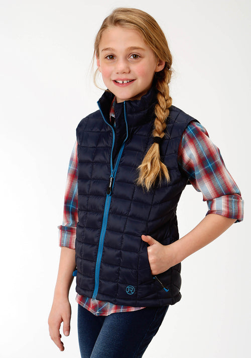 ROPER GIRLS BLUE 4043 POLY FILLED NYLON VEST ROPER OUTERWEAR- GIRLS VEST
