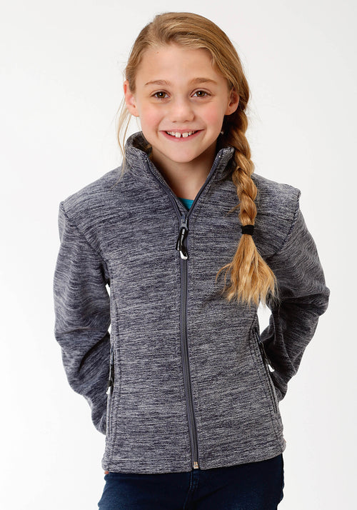 ROPER GIRLS BLUE 3949 CATIONIC NAVY MICRO FLEECE ROPER OUTERWEAR- GIRLS JACKET