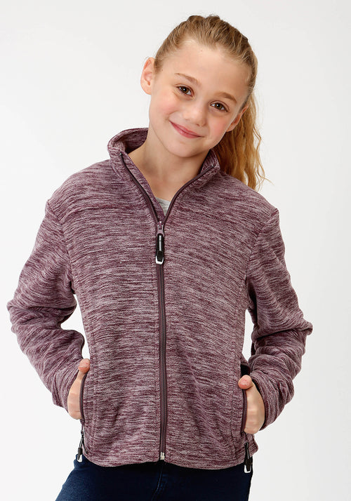 ROPER GIRLS PURPLE 3949 CATIONIC PLUM MICRO FLEECE ROPER OUTERWEAR- GIRLS JACKET