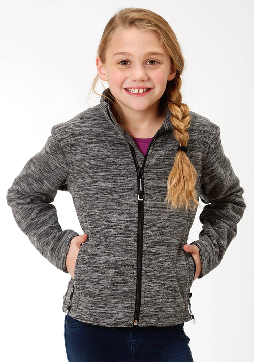ROPER GIRLS BLACK 3949 CATIONIC BL & WH MICRO FLEECE ROPER OUTERWEAR- GIRLS JACKET