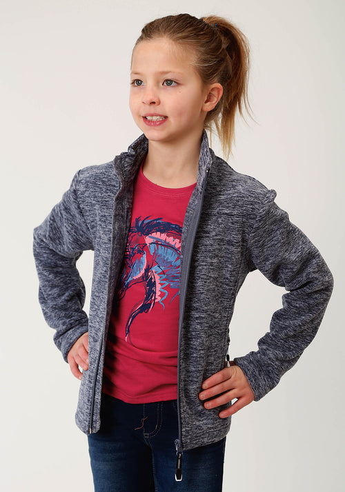 ROPER GIRLS BLUE MICRO FLEECE JACKET - CATIONIC NAVY ROPER OUTERWEAR- GIRLS JACKET