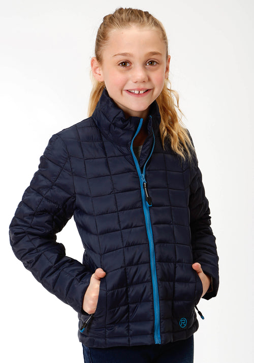 ROPER GIRLS BLUE 4043 POLY FILLED NYLON JACKET ROPER OUTERWEAR- GIRLS JACKET
