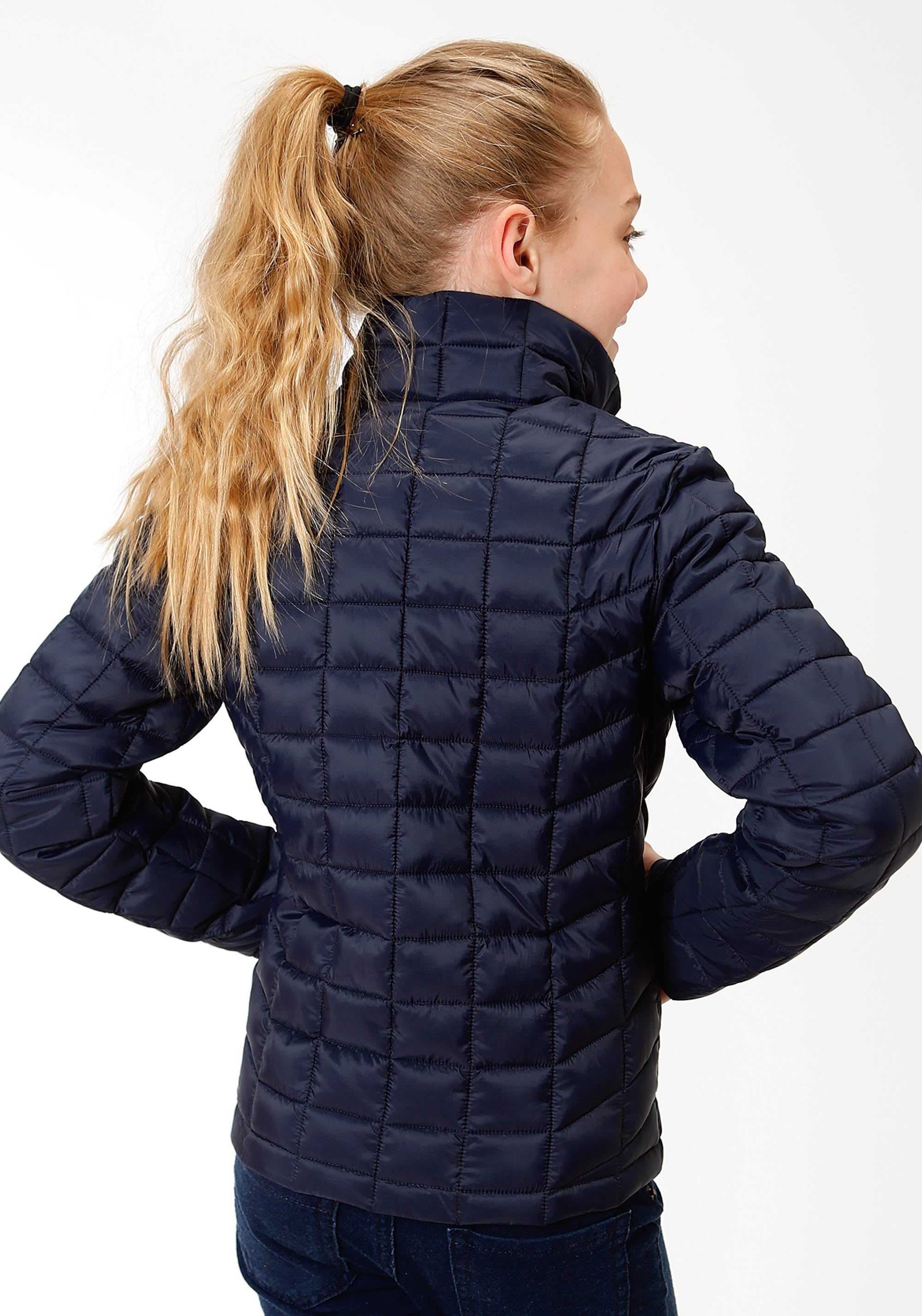 OUTERWEAR GIRLS NAVY 4043 POLY FILLED NYLON JACKET CRUSHABLE