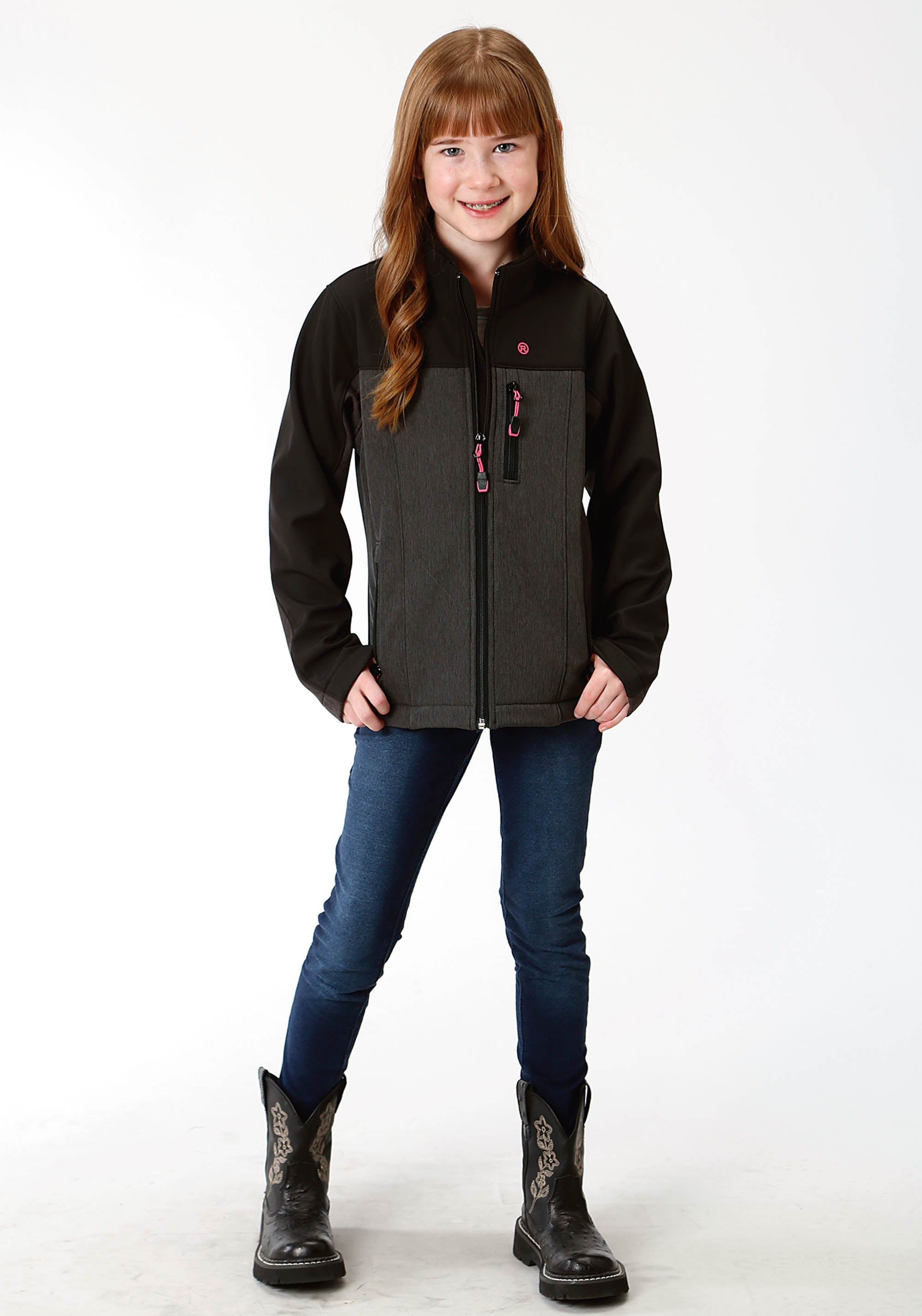 ROPER GIRLS GREY 9429 GREY TEXTURED & SOLID BLACK ROPER OUTERWEAR- GIRLS JACKET