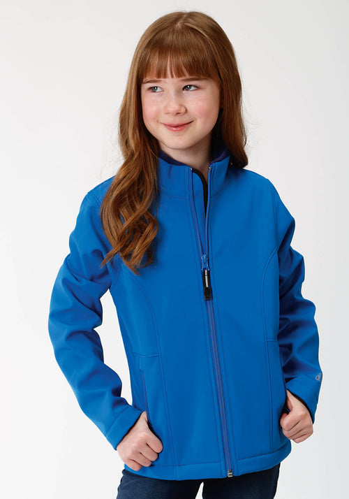 ROPER GIRLS BLUE 9429 MARINE BLUE & NAVY FLEECE BACKING ROPER OUTERWEAR- GIRLS JACKET