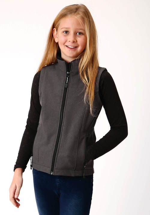 OUTERWEAR GIRLS GREY 00428 HEATHERED GY SOFTSHELL VEST TECH GROUP