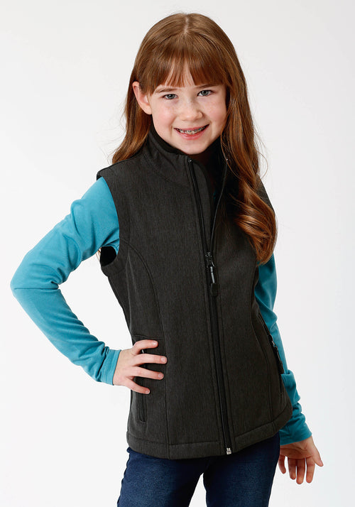 ROPER GIRLS GREY 9429 GREY TEXTURED W/BLACK FLEECE ROPER OUTERWEAR- GIRLS VEST