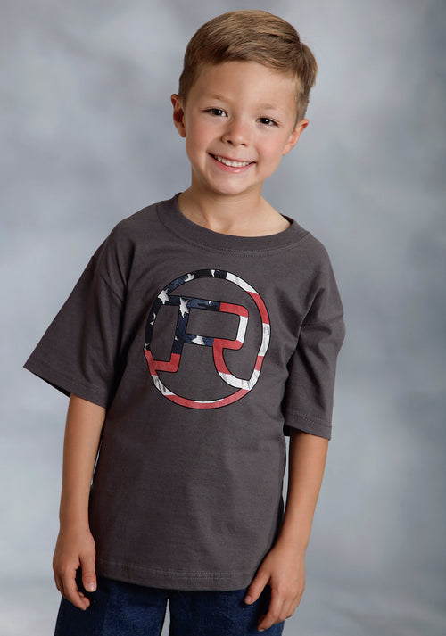 ROPER BOYS GREY AMERICAN FLAG CIRCLE R LOGO ROPER AMERICANA T-SHIRT COLLECTION T-SHIRT