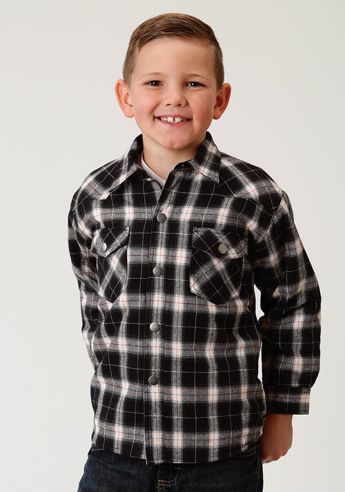 ROPER BOYS BLACK FLANNEL SHIRT JKT, QUILTED LINED  JACKET