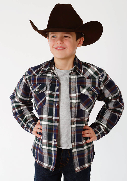 ROPER BOYS GREEN 9372 GR/NA/BR PLAID FLANNEL SHIRT  JACKET