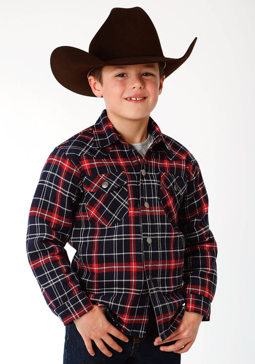 ROPER BOYS RED 9372 RE/NA PLAID FLANNEL SHIRT  JACKET