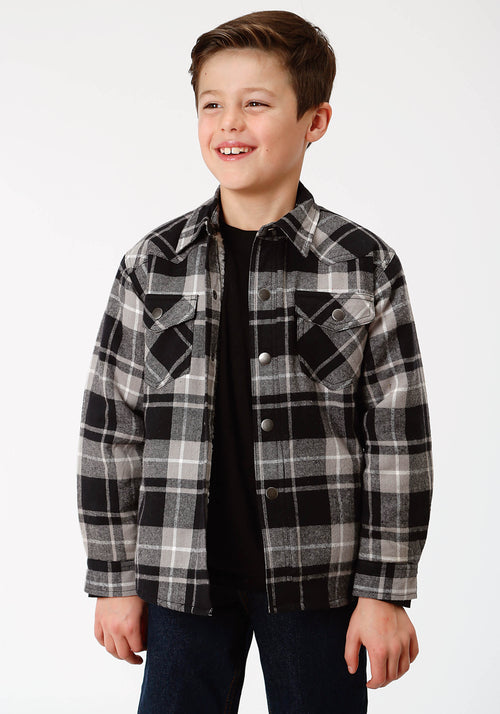 ROPER BOYS BLACK 9372 BL/GY PLAID FLANNEL SHIRT  JACKET