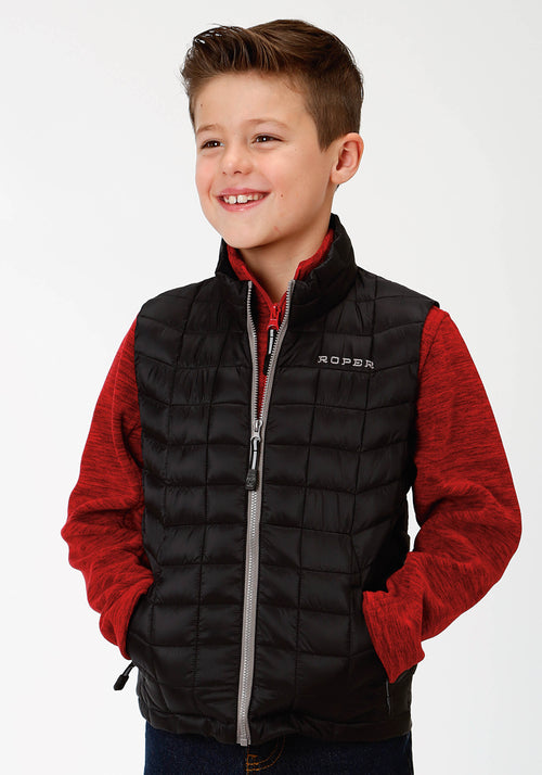 ROPER BOYS BLACK 4043 BLACK RIPSTOP POLY FILLED VEST ROPER OUTERWEAR- BOYS VEST