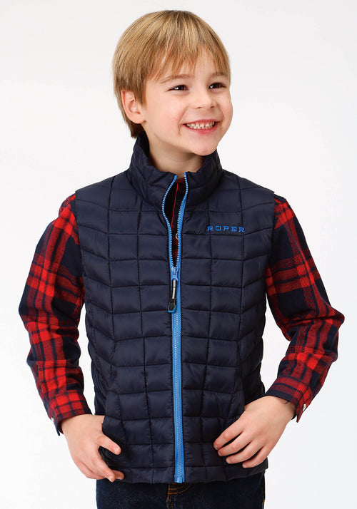 ROPER BOYS BLUE 4043 POLY FILLED NYLON VEST ROPER OUTERWEAR- BOYS VEST