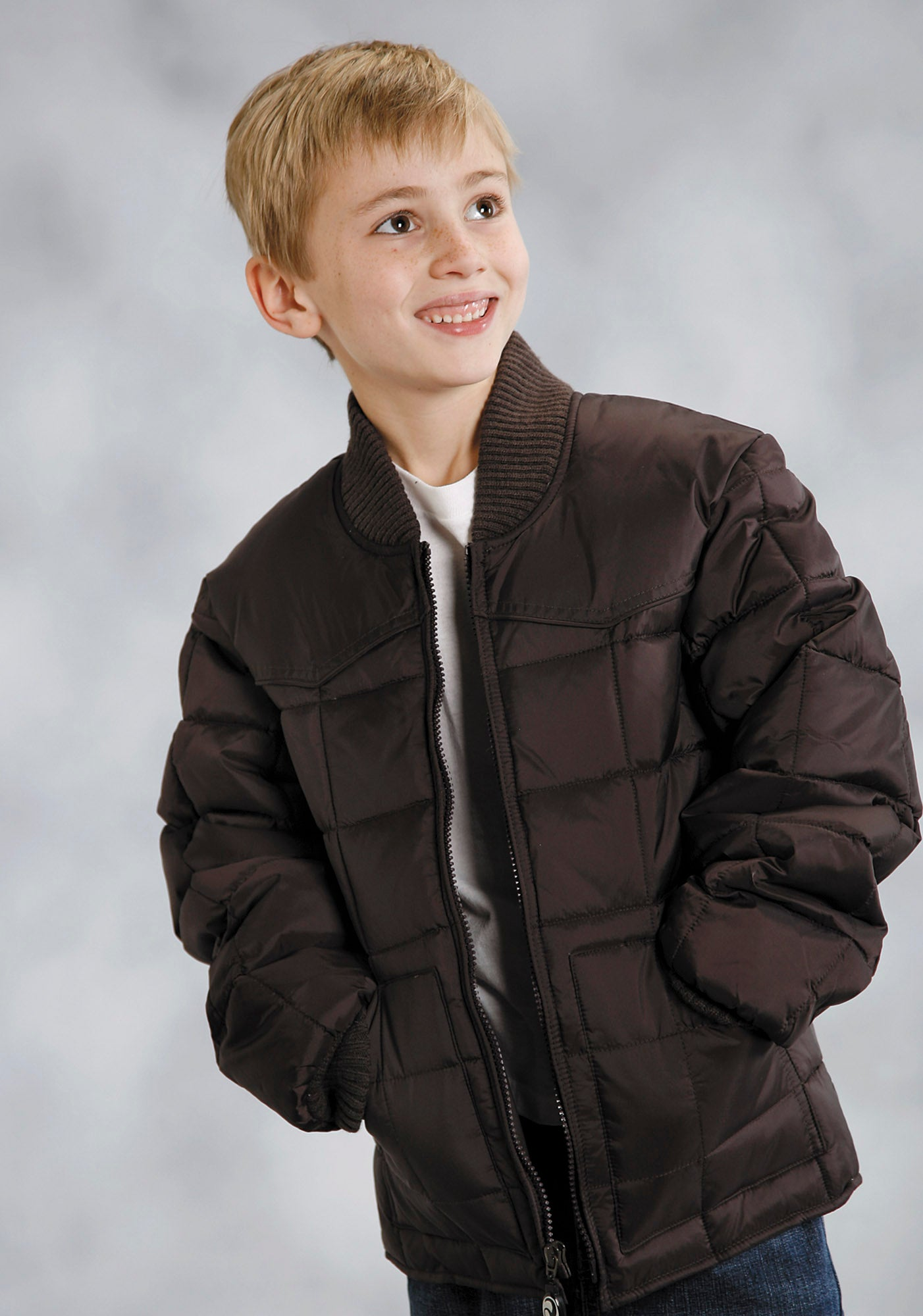 OUTERWEAR BOYS BROWN QUILTED NYLON JKT 50DOWN/50POLY FILL FASHION
