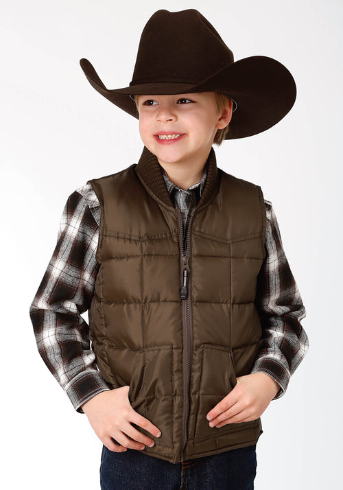 ROPER BOYS BROWN 1473 CHOC QUILTED POLY-FILLED VEST OPP OUTERWEAR- BOYS VEST