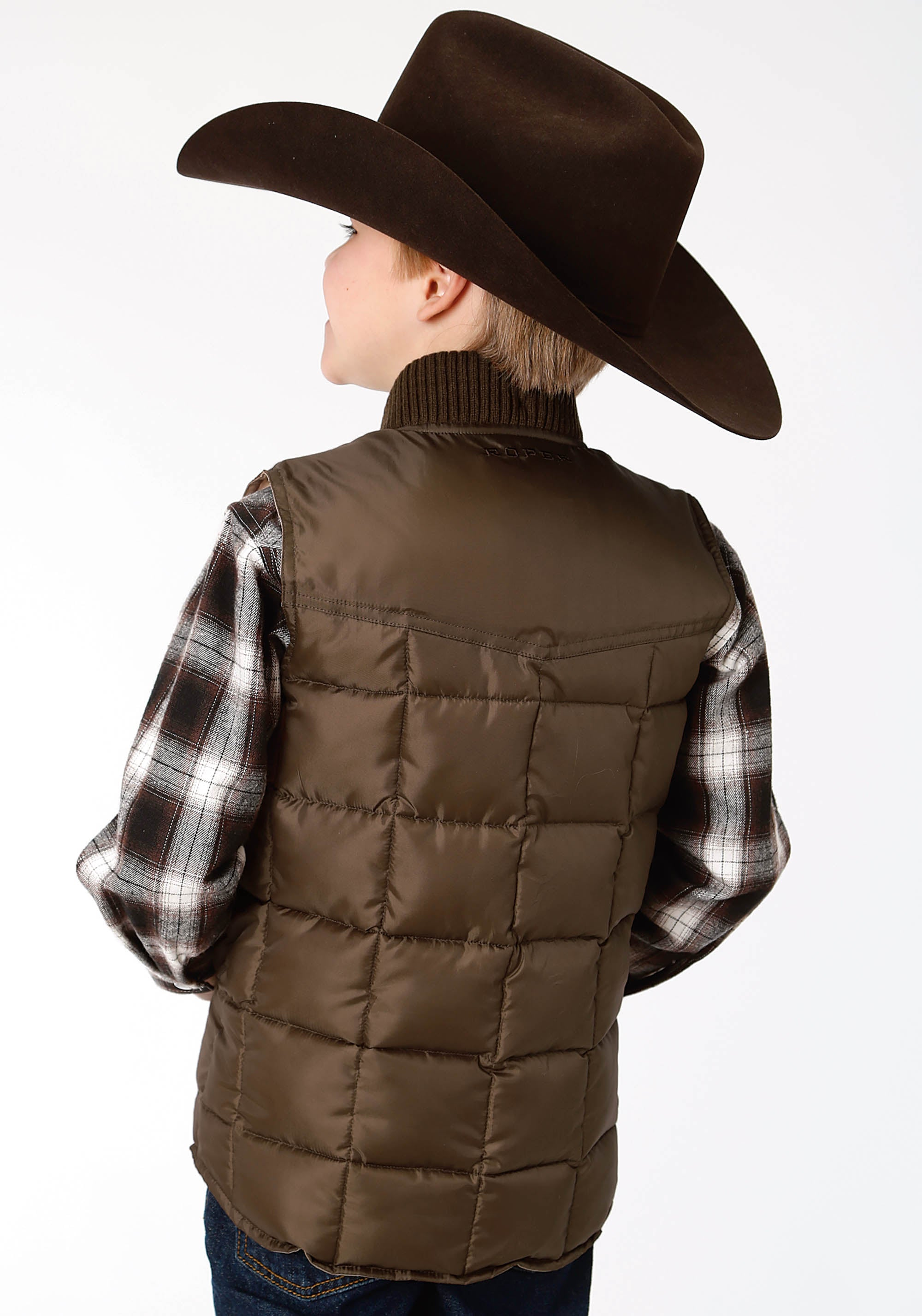 OUTERWEAR BOYS BROWN 1473 CHOC QUILTED POLY-FILLED VEST OPENING PRICE POINT
