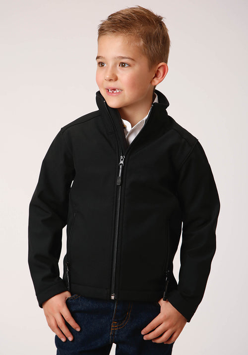 ROPER BOYS BLACK 00259 BLACK W/BLACK SOFTSHELL JACKET ROPER OUTERWEAR- BOY'S IN STOCK JACKET