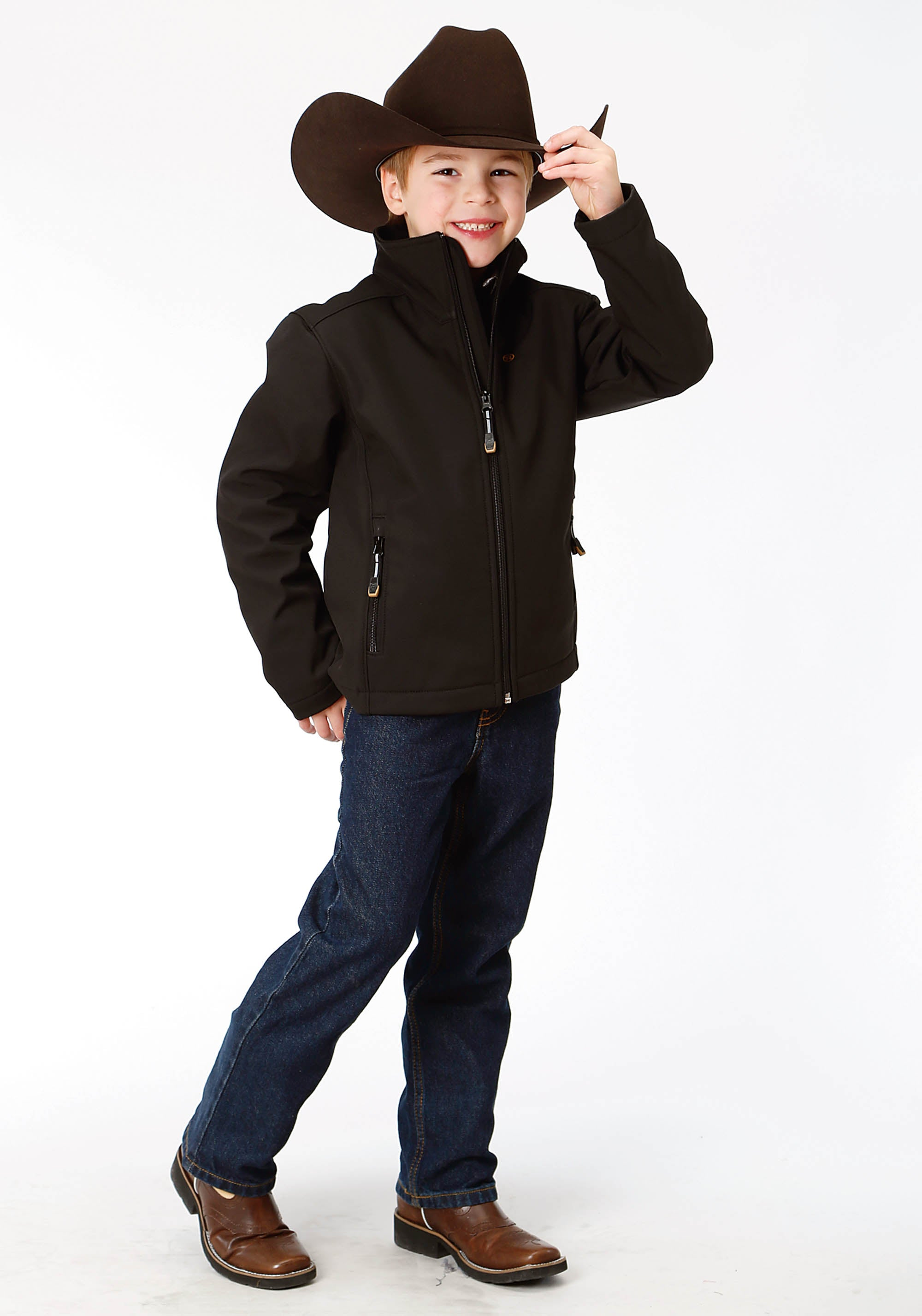 ROPER BOYS BLACK 9429 BLACK W/BLACK FLEECE BACKING ROPER OUTERWEAR- BOY'S JACKET