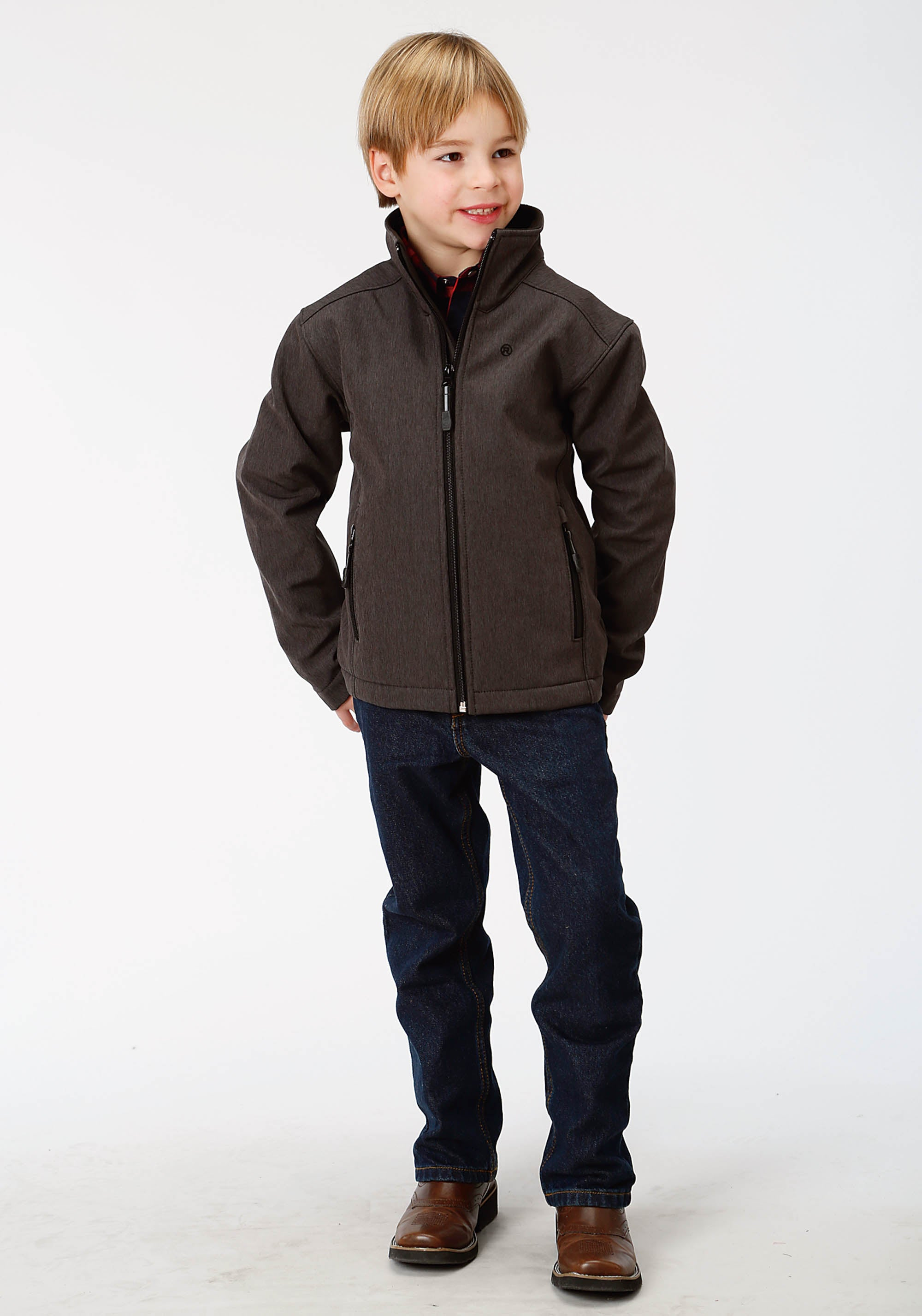ROPER BOYS GREY 9429 GREY TEXTURED W/BLACK FLEECE ROPER OUTERWEAR- BOYS JACKET