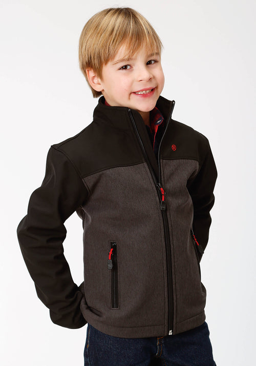 ROPER BOYS GREY 9429 GREY TEXTURED & SOLID BLACK ROPER OUTERWEAR- BOYS JACKET