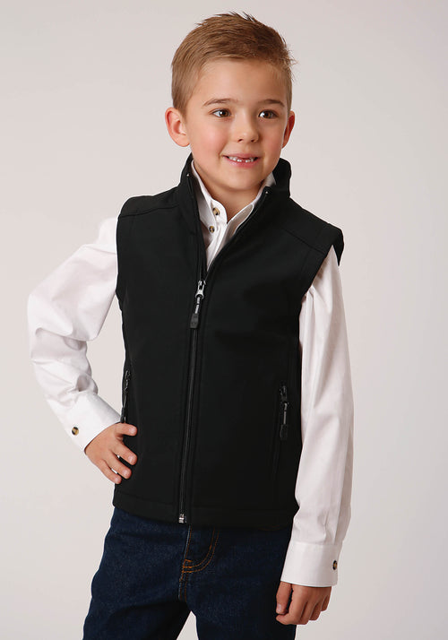 ROPER BOYS BLACK 00259 BLACK W/BLACK SOFTSHELL VEST ROPER OUTERWEAR- BOY'S IN STOCK VEST