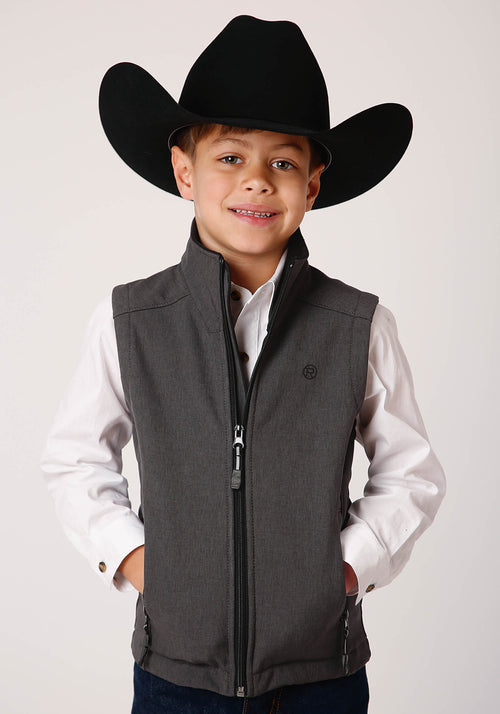 OUTERWEAR BOYS GREY 00428 HEATHERED GY SOFTSHELL VEST TECH GROUP